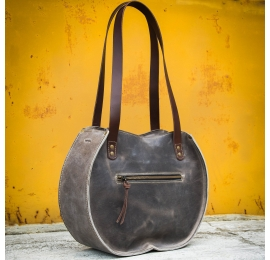 "Handmade leather bag ""Basia"" Gray color SIZE L and L SLIM"
