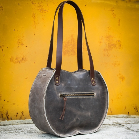 "Handmade leather bag ""Basia"" in unique colour Size L and L SLIM tote bag made by ladbuq art studio"