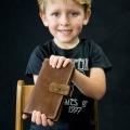 Portfel skórzany ręcznie robiony  miejsce na 14 kart kolor brązowy