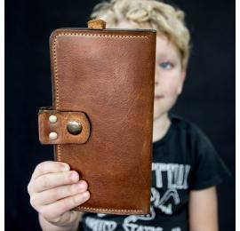 Portfel skórzany ręcznie robiony miejsce na 14 kart kolor Whiskey