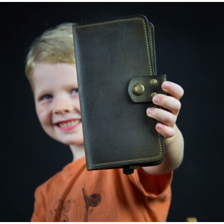 Skórzany portfel kolor khaki
