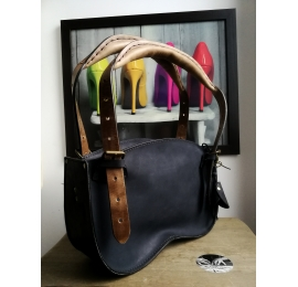 Handmade leather bag Ultimate Edition MINI version color Navy blue and brown handles