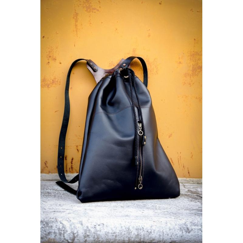 f396451352500 ... Worek skórzany z naturalnej skóry plecak ladybuq ręcznie wykonany  czarny ...
