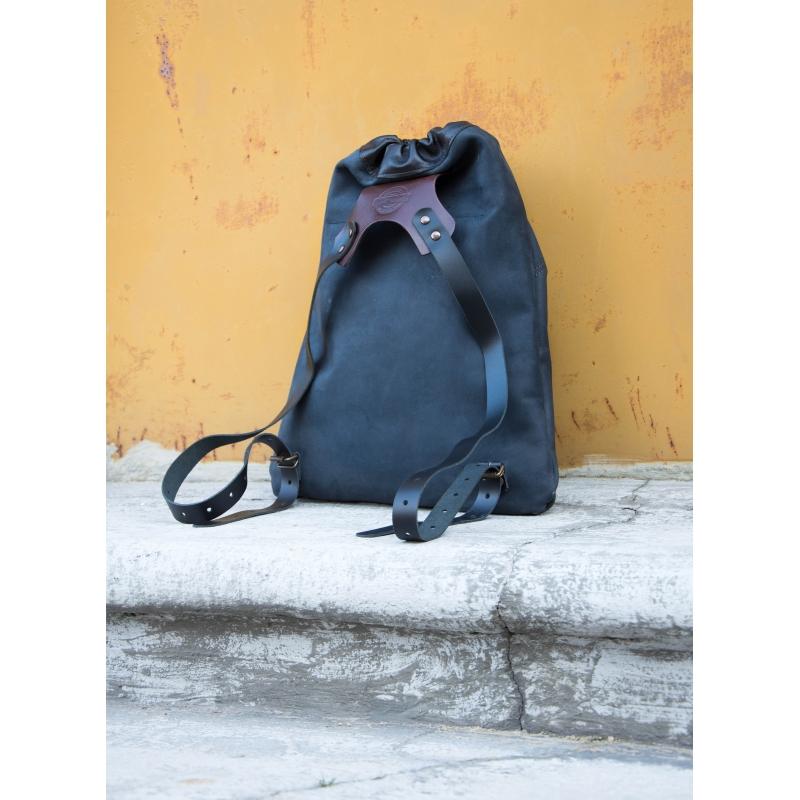 76484a7764d53 ... worek skórzany z naturalnej skóry plecak do garnituru ręcznie wykonany  czarny ...