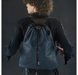 sac en cuir en costume de sac à dos en cuir naturel noir
