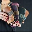 skórzany portfel w kolorze camelowym i brązowym wykonany ręcznie od ladybuq art