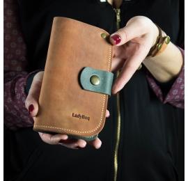 Portfel skórzany ręcznie robiony portfel ze skóry kolor rudy