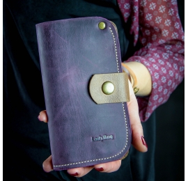 Handmade leather wallet plum color