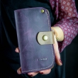 Stylish wallet in plum color with slots for cards and zippered coin pocket made by ladybuq