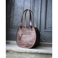 brown leather bag made by ladybuq art, handmade vintage style purse