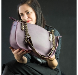 Handmade natural leather tote bag in plum color. Original purse with chain from Ladybuq Art