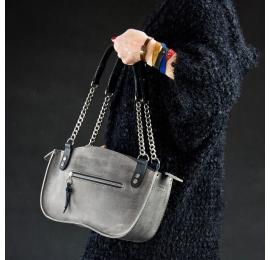 Oryginalna torebka skórzana ręcznie wykonana w kolorze szarym . Kuferek z łańcuchem od Ladybuq Art