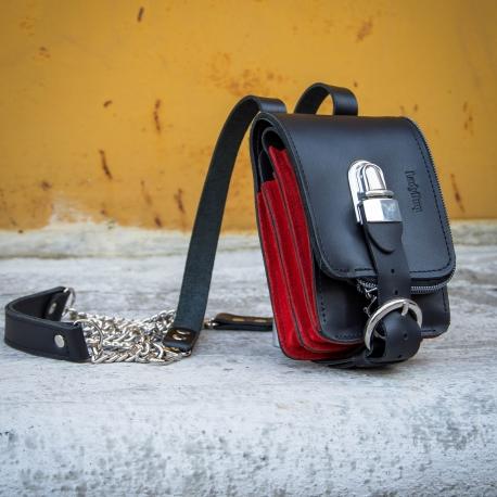 8007fba465513 Mała torebka skórzana skorzany portfel torebka na łańcuszku