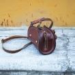 Leather purse Pepa unique design handmade color Brown