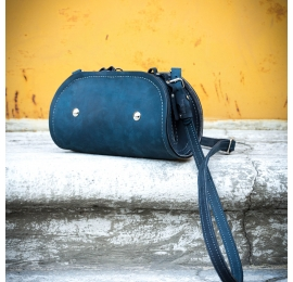 Purse Pepa handmade leather purse navy blue