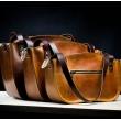 Torba wykonana z polskiej skóry naturalnej torebka w kolorze kamelowym z pięknymi paskami od Ladybuq