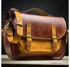 Leather handmade laptop bag messenger bag