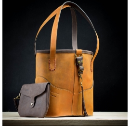handmade leather bag camel color