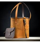 handmade leather bag camel color