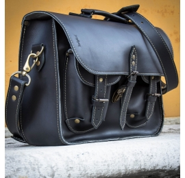 Stylish black messenger ideal for a laptop for the office created by ladybuq art