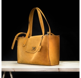Kasia bag in beautiful shades of Camel colours made of high quality natural leather made by ladybuq art