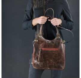 Stylish brown everyday bag laptop bag made by ladybuq art