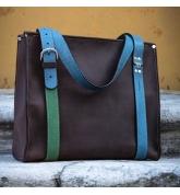 Big Lili unikalna torba w kolorze czekoladowym z kolorowymi paskami torba od ladybuq oryginalny design duża torebka