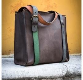 Big Lili Chocolate with straps in four beautiful colours Ladybuq original bag unique tote shopper bag