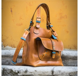 Handmade natural leather tote bag Alicja color camel with blue