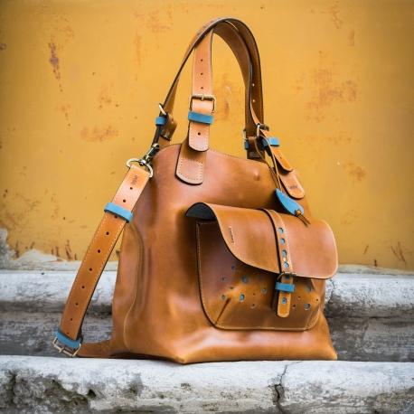 torba skórzana ręcznie wykonana oryginalna torba w kolorze camelowym