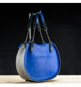 "Handmade natural leather bag ""Basia"" handmade leather tote bag  Sapphire and Grey colours"