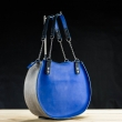 round leather bag Basia made by Ladybuq Art in sapphire and grey colors