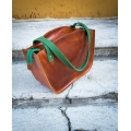"Handmade leather bag ""Kuferek"" Camel with green straps color Size L made by Ladybuq Art"