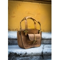 Kuferek bag with pocket strap and a clutch 3 sizes whiskey and lime