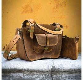 Torebka kuferek ręcznie wykonany skórzany TRZY ROZMIARY kolor whiskey z limonkowymi akcentami torba od ladybuq art