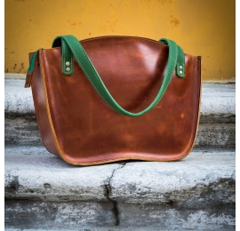 "Handmade leather bag ""Kuferek"" Camel color with green straps  made by Ladybuq Art"