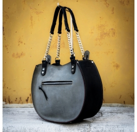 Torebka skórzana ręcznie robiona rozmiar S unikalna torebka w kolorach Czarnym i Szarym od Ladybuq Art