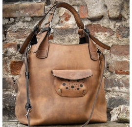 Leather purse Alicja with a long strap and Black additives