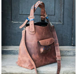 Natural leather, unique designer bag Alicja with a long strap and blue additives