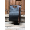 Leather tote bag from new collection in black colour made by ladybuq art