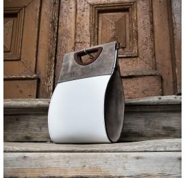 Biała torebka z Szarymi akcentami oryginalna skórzana torba od ladybuq art