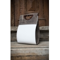 White bag with Grey accents original leather bag made by ladybuq art