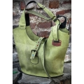 Leather bag Ladybuq with long straps and zipper, bigger version, lime