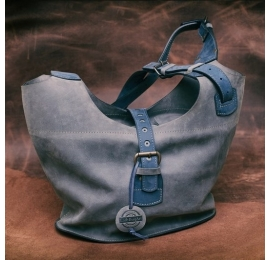 Leather bag Ladybuq with long straps and zipper, bigger version, Grey and Navy Blue color