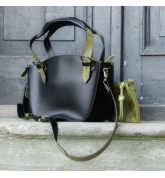Leather Bag Kuferek SMALLER SIZE with a strap and a clutch, black and lime
