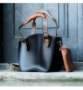Leather Bag Kuferek SMALLER SIZE with a strap and a clutch, black and brown with ginger accents